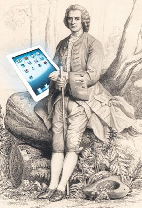 Les technologies numériques permettront peut-être d'éclairer les «Confessions» de Jean-Jacques Rousseau d'un jour nouveau. © Photomontage JS/D'après un dessin de Gleyre, gravé par Thévenin