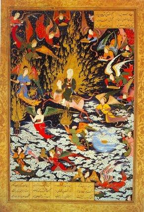 «L'ascension de Mahomet», miniature tirée du «Khamsé» (1539-1543), recueil de cinq poèmes épiques du poète persan Nizami. Le Prophète, monté sur son cheval à tête humaine, est accueilli au ciel par des anges. Une vision annonciatrice du paradis. © British Library, Londres/DR