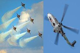 La Patrouille Suisse et le Super Puma Display dans le ciel broyard