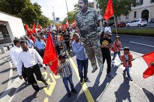 Plus d'un millier de Tamouls manifestent à Genève