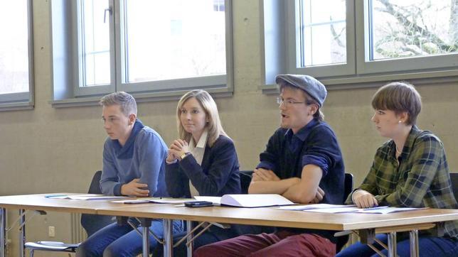 Participaient au dernier débat, de gauche à droite, Yan L'Homme, Johanna Gapany, Vincent von Siebenthal et Isaline Racca. © Louis Rossier