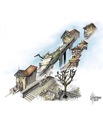 Ludo Hartmann réinvent un Fribourg avec un décor d'imprimerie. © DR