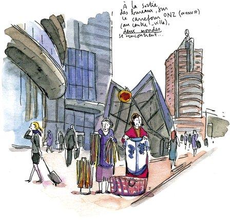 Deux mondes se rencontrent au centre-ville: un dessin de Fanny Vaucher.  © Ed. Noir sur Blanc/DR