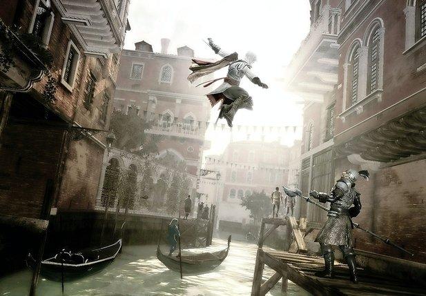 Le noble florentin Ezio Auditore, héros emblématique de la saga Assassin's Creed, ici en pleine action.  © Ubisoft