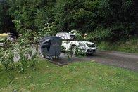 Un arbre tombe sur une voiture en circulation à Attalens