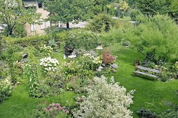 Un labyrinthe fleuri sur la pelouse