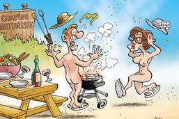Vive les vacances et les saucisses au gril!