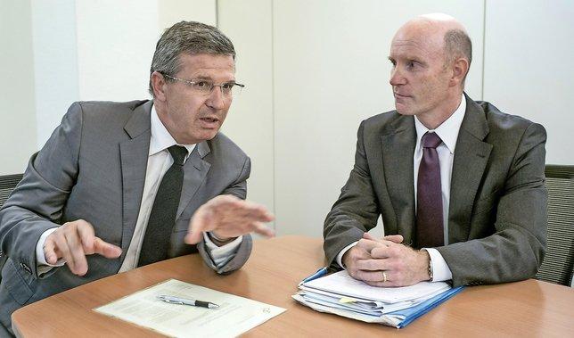 Christophe Reymond (à gauche) et Marco Taddei: deux visions patronales qui s'affrontent sur la réforme des retraites.  © ARC/Jean-Bernard Sieber