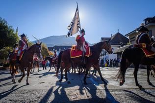 Remise annuelle du drapeau du Cadre Noir et Blanc de Fribourg à Châtel