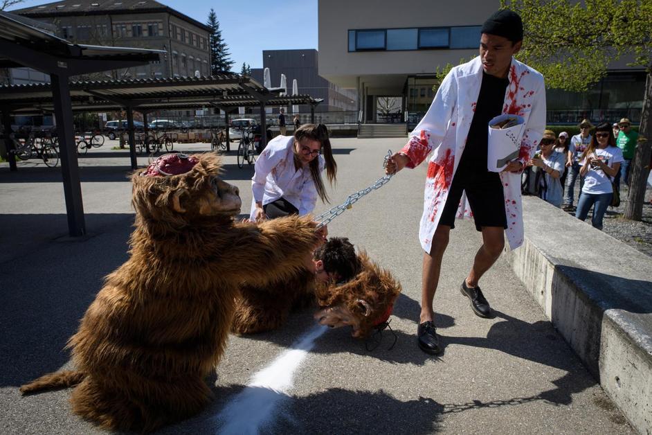 Manifestation contre l'expérimentation animale à Fribourg