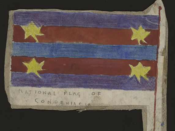 National Flag of Condeniacia, mine de plomb et crayon de couleur. Une oeuvre de l'Américain Henry Darger montrée cet été à la Collection de l'Art brut à Lausanne © Collection de l'Art brut à Lausanne