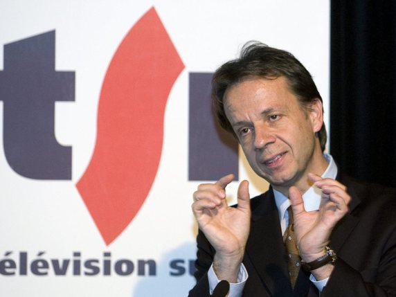 Gilles Marchand, director of the SSR ten years ago, while managing what was still Télévision Suisse Romande (TSR). © KEYSTONE / SALVATORE DI NOLFI