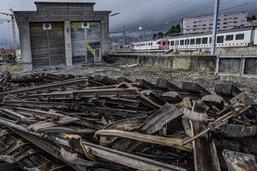 Démolition d'une remise ferroviaire
