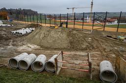 Travaux suspendus sur le chantier d'Avry-Centre 2020