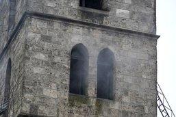 Clocher en feu à Herzogenbuchsee - Pointe effondrée