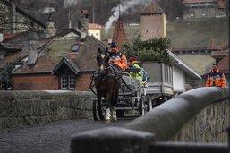 La voirie à cheval pour ramasser les sapins