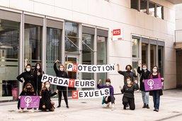 Action devant les bureaux de la RTS